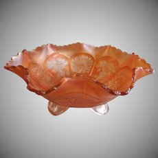 "Fenton Marigold Carnival ""Peacock & Grape"" Fluted Footed Bowl"