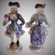 Murano Mid-Century Millefiori Art Glass Colonial Courting Couple Figurines
