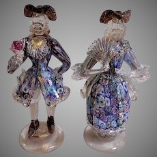 Murano Mid-Century Millefiori Art Glass Colonial Courting Couple Figurines