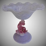 Murano Mid-Century Art Glass Opalescent Compote w/Pink Dolphin Standard