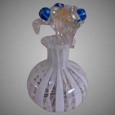 Murano Mid-Century Art Glass Latticino & Millefiori Scent/Perfume Bottle