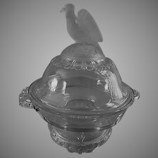 """EAPG - Crystal Glass Company """"Frosted Eagle"""" Covered Butter Dish"""