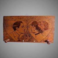 Arts & Crafts Era Pyrography Wall Necktie Rack w/Romantic Motif