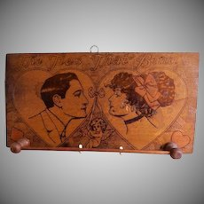Arts & Crafts Era Pyrography Wall Necktie Rack w/Romantic Motif