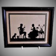 "Vintage Reverse Painted on Glass Silhouette ""Couple Enjoying Afternoon Tea"""