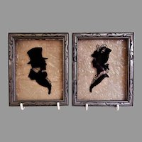 """Vintage Reverse Painted on Glass Silhouettes """"Victorian Gentleman & Lady"""" - Pair"""