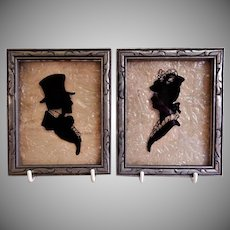 "Vintage Reverse Painted on Glass Silhouettes ""Victorian Gentleman & Lady"" - Pair"