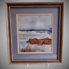 "Vintage Watercolor Painting ""Ocean Shoreline"" - Artist Signed"