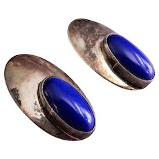 Mid Century Modern Sterling Silver & Lapis Lazuli Cabochon Clip-Style Earrings