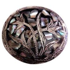 Mexican Mid Century Modern Sterling Silver, Black Enamel & Abalone Brooch/Pendant