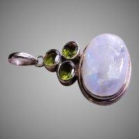 MD Jewelry Design Sterling Silver, Milky Quartz & Peridot Pendant