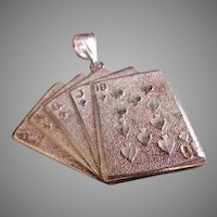 """1 Of A Kind Jewelry Company Sterling Silver """"Royal Flush"""" Cards Pendant"""