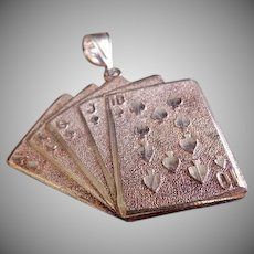 "1 Of A Kind Jewelry Company Sterling Silver ""Royal Flush"" Cards Pendant"
