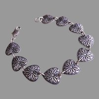 "Romantic Sterling Silver Engraved ""Hearts"" Link Bracelet"