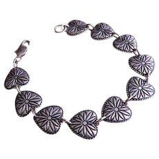 "Romantic Sterling Silver Engraved ""Hearts"" Link Bracelet"