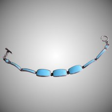 Mid Century Mexican Sterling Silver & Turquoise Links Bracelet