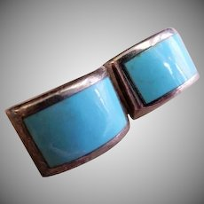 Mid Century Mexican Sterling Silver & Turquoise Pierced Earrings