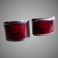 Mexican Mid Century Modern Sterling Silver & Red Jasper Cabochon Pierced Earrings