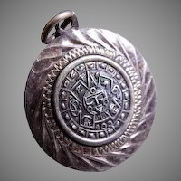 """Mexican Mid Century Sterling Silver """"Maya Calendar"""" Pendant - Signed RCD"""