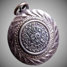 "Mexican Mid Century Sterling Silver ""Maya Calendar"" Pendant - Signed RCD"