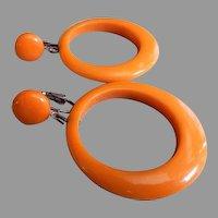"Vintage Butterscotch Bakelite ""Dangle Loop"" Clip-Style Earrings"