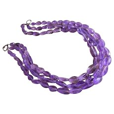 Amethyst Cut Faceted Nugget Necklace - 3 Strands