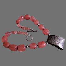 Peach Quartz Cubes & Cuboids with Sterling Silver Designer Necklace