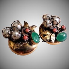 Vintage Gold-Tone, Coral, Jade and Faux Pearl Clip-Style Earrings