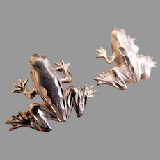 "Sterling Silver ""Tree Frog"" Post Earrings"