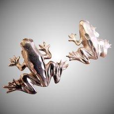 "Sterling Silver ""Tree Frog"" Post Earrings"