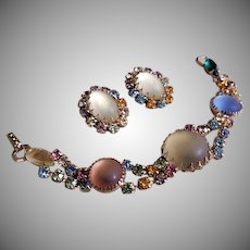 Vintage Pastel Frosted Glass Cabochons and Brilliant Rhinestones Bracelet & Earrings Set