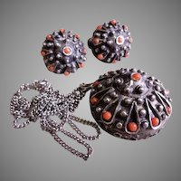 """Sterling Silver & Coral Beads """"Sea Urchin"""" Pendant Necklace & Earrings"""