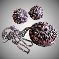 "Sterling Silver & Coral Beads ""Sea Urchin"" Pendant Necklace & Earrings"