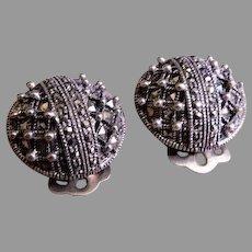 "Vintage Sterling Silver & Marcasite Gems ""Dome"" Design Earrings"