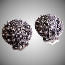 "Vintage Sterling Silver & Marcasite Gems ""Dome"" Design Earrings"