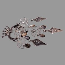 "Norwegian Solje Silver ""Crowned Heart"" Wedding Brooch"