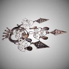 """Norwegian Solje Silver """"Crowned Heart"""" Wedding Brooch"""