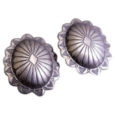 "Fannie Platero Navajo Sterling Silver ""Concho"" Stud Earrings"