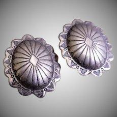 """Fannie Platero Navajo Sterling Silver """"Concho"""" Stud Earrings"""