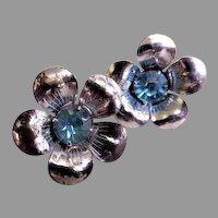 Sterling Silver Floral Blossom w/Azure Rhinestone Earrings, Screw-Backs