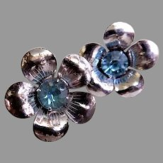 Sterling Silver Floral Blossom w/Azure Rhinestone Earrings, Screw-Backs