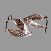 """Sterling Silver """"Twisted Loop"""" Design Earrings, Snap Post Type"""
