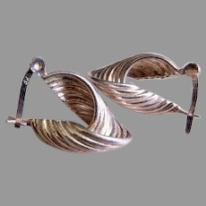 "Sterling Silver ""Twisted Loop"" Design Earrings, Snap Post Type"