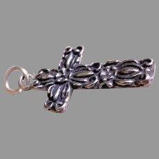 Sterling Silver Repousse Cross Pendant/Charm w/Floral Motif