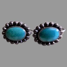 Vintage Southwestern Design Sterling Silver & Blue Cabochon Earrings, Screw-Back Style