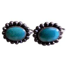 Vintage Southwestern Design Sterling Silver & Blue Cabochon Earrings, Screw-Back Style
