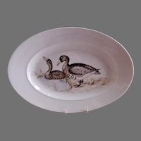 Charles Field Haviland Hand Painted Platter w/Wild Geese Decoration - A.E.H. 1883