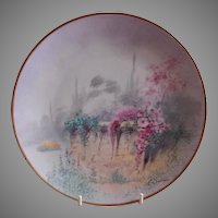 "Pickard Studio Hand Painted ""Garden Wall"" Pattern Cabinet Plate - E Challinor"