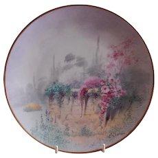 "Pickard Studio Hand Painted ""Garden Wall"" Pattern Cabinet Plate - E Challinor"