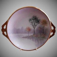 "Osborne Studio Hand Painted ""Autumn"" Scenic Cabinet Plate w/Cut Handles"